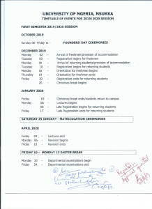 UNN 2019/2020 Timetable of Events for Regular and Sandwich Programmes