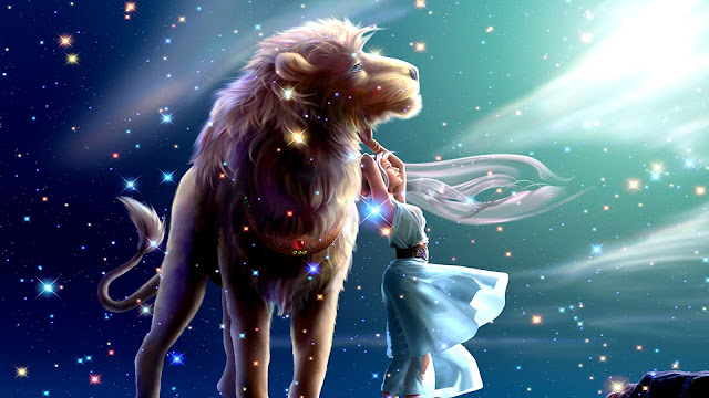 Papel de Parede Fantasia Leão e a Princesa