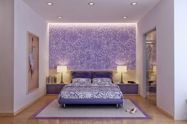 Purple Bedroom Ideas Patterned Wall Surrounded With Light