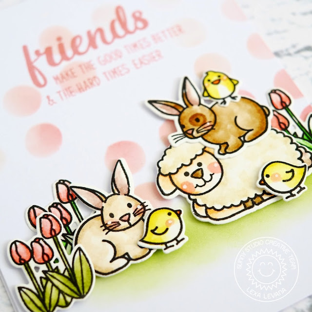 Sunny Studio Stamps: Easter Wishes Spring Friends bunny, sheep & baby chicks Card by Lexa Levana