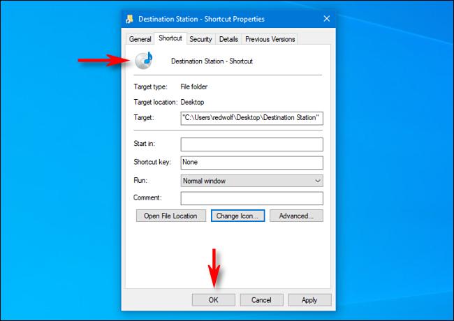 """في Windows 10 ، لاحظ أن رمز الاختصار قد تغير.  ثم انقر فوق """"موافق""""."""