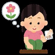 花の種を植える人のイラスト(女の子)