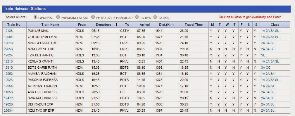 list of trains between two stations shown on irctc at the time of booking tickets