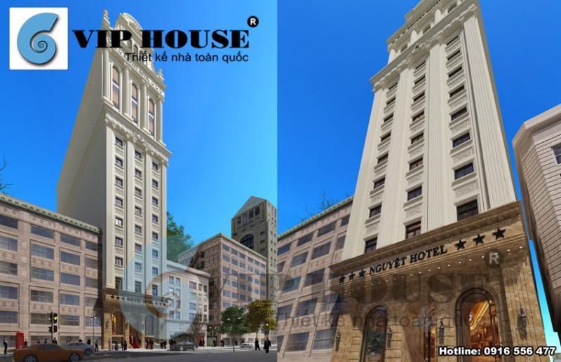 Hình ảnh: Lợi thế về mặt tiền giáp đường lớn của thiết kế khách sạn 3 sao được kts Vip House tận dụng thành công.