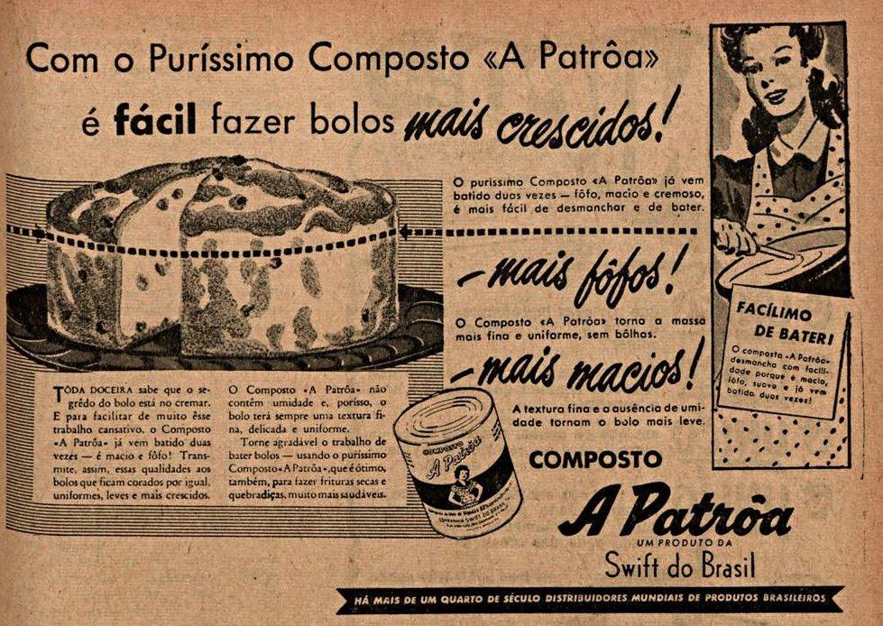 Propaganda antiga do composto de bolos A Patroa veiculado em 1944