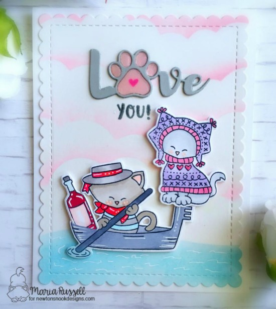 Love You Kitty card by Maria Russell | Newton Dreams of Italy and Sweater Weather Stamp Sets by Newton's Nook Designs #newtonsnook #handmade