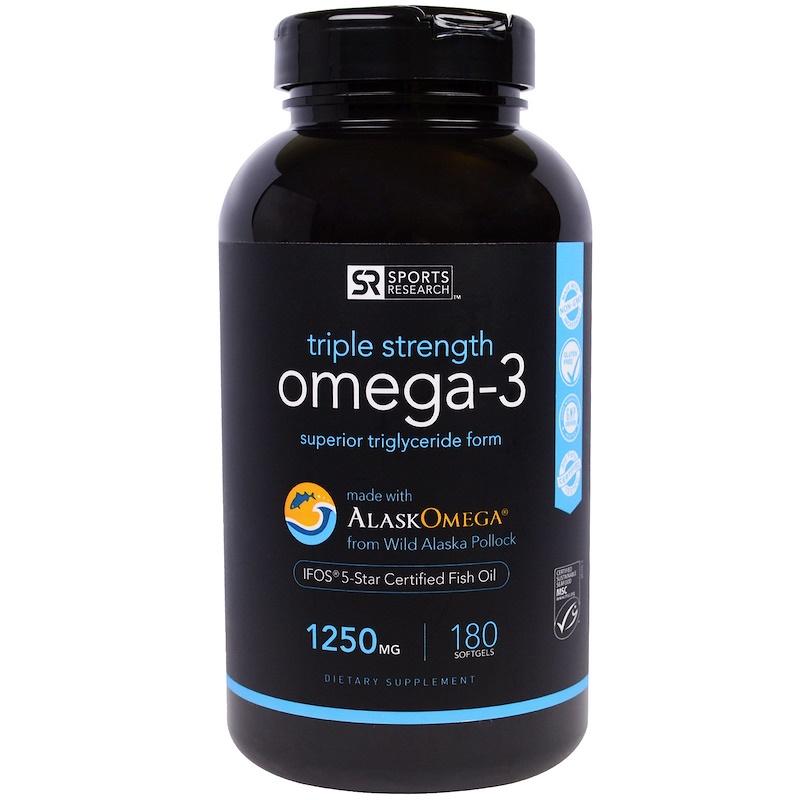 Sports Research, Рыбий жир с омега-3, тройная сила, 1250 мг, 180 мягких таблеток