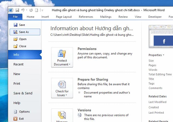 hướng dẫn đặt mật khẩu cho file word