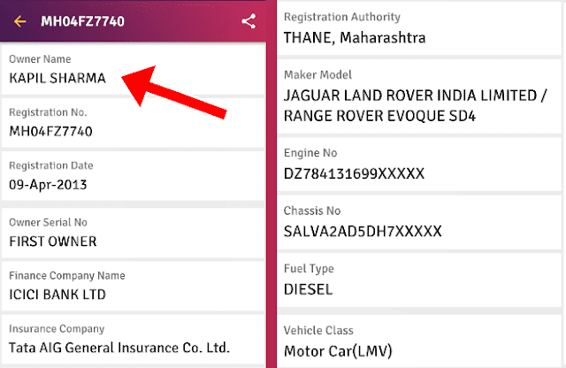 Check Owner Name and Vehicle Details