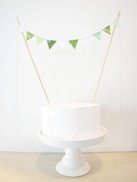 Magnolia Cake Topper - Fabric Bunting - Wedding, Birthday Party, Baby Shower Decor garden woodland pastel green mint white floral botanical athenaandeugenia