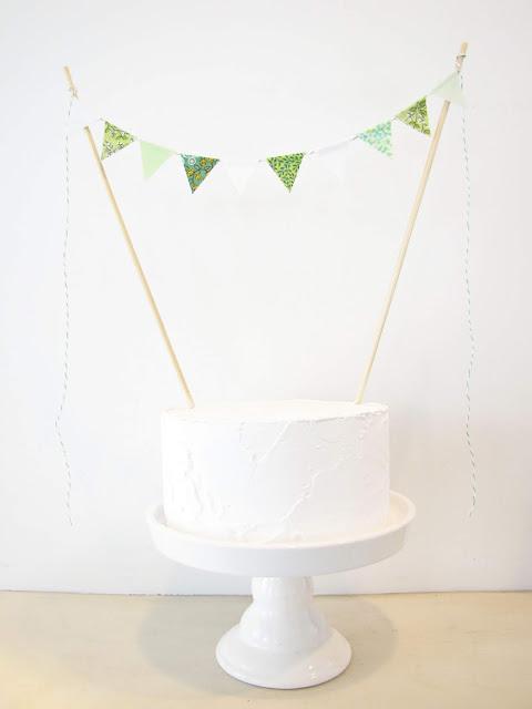 Magnolia Cake Topper - Fabric Bunting - Wedding, Birthday Party, Baby Shower Decor garden woodland pastel green mint white floral botanical athenaandeugenia