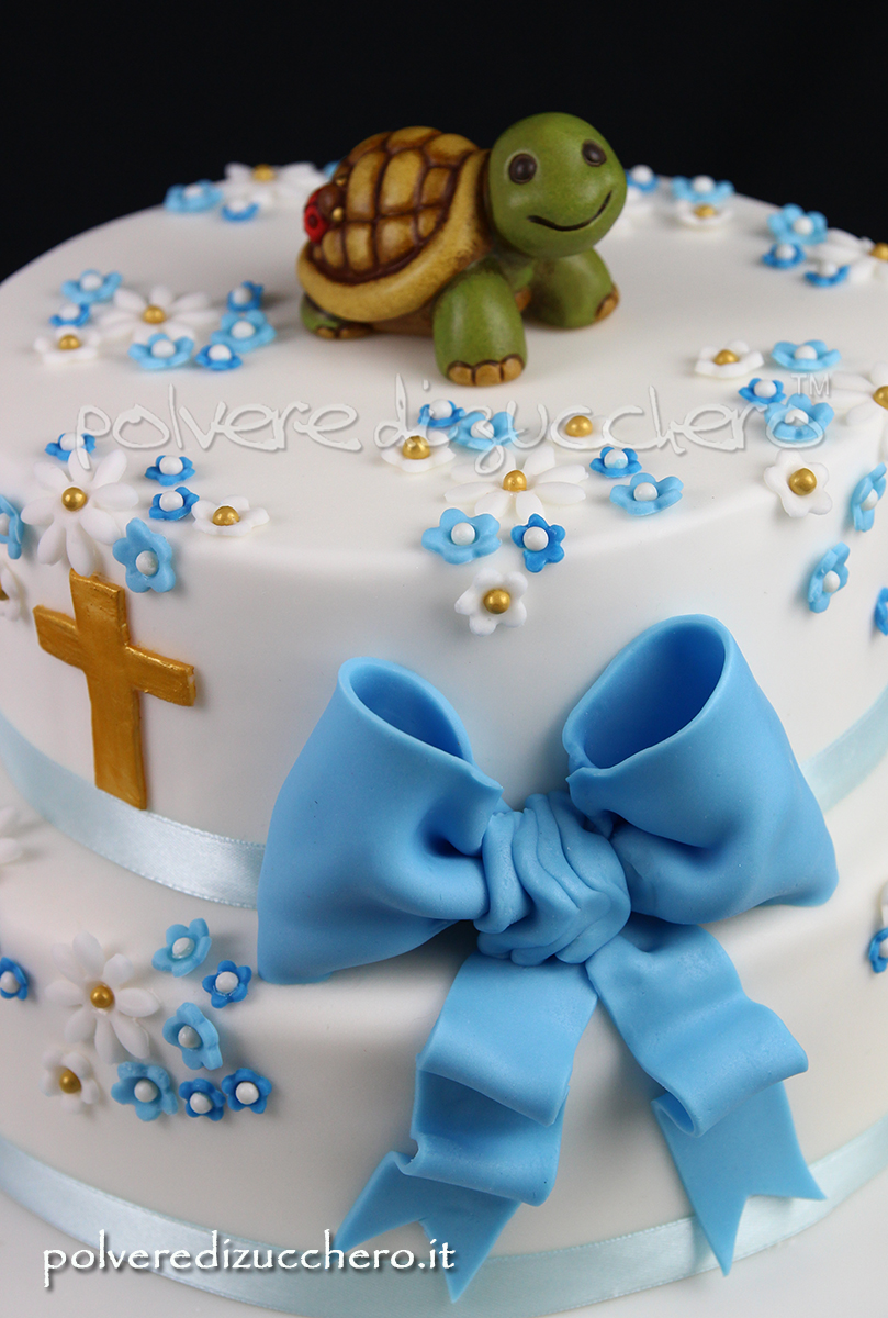 cake design torta decorata pasta di zucchero battesimo tartaruga thun fiori croce fiocco fondant paste baptsim turtle flower cross bow