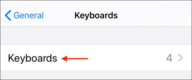 انقر فوق لوحات المفاتيح في قسم لوحة المفاتيح