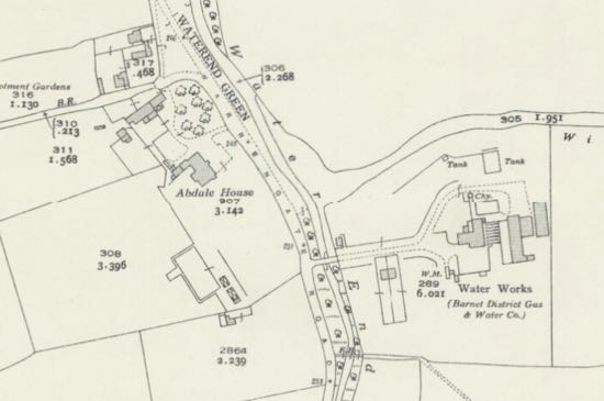 Detail from the OS 25-inch map of 1936 showing the water works on Warrengate Road Reproduced with permission of the National Library of Scotland Creative Commons BY-NC-SA 4.0