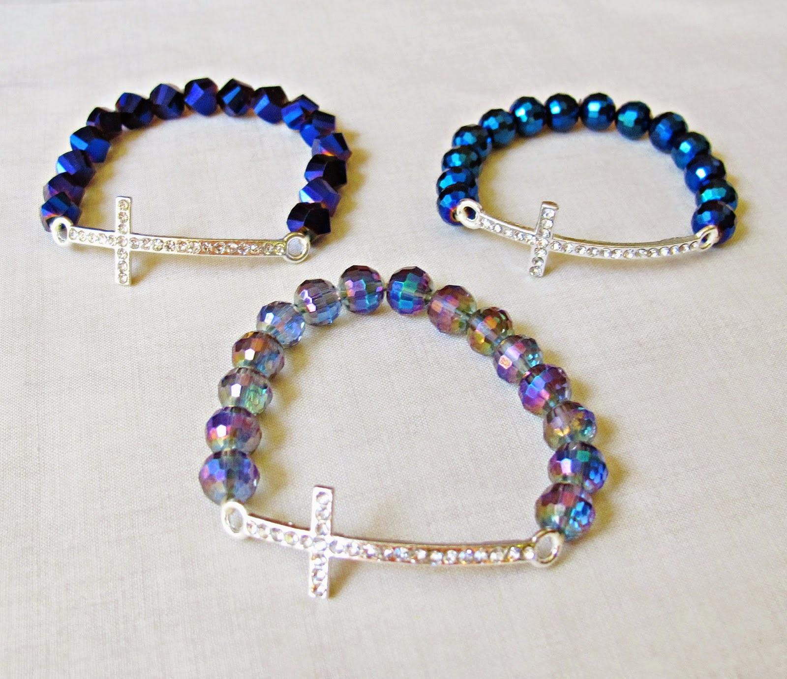 image diy tutorial rhinestone cross bracelet stretch elastic beaded