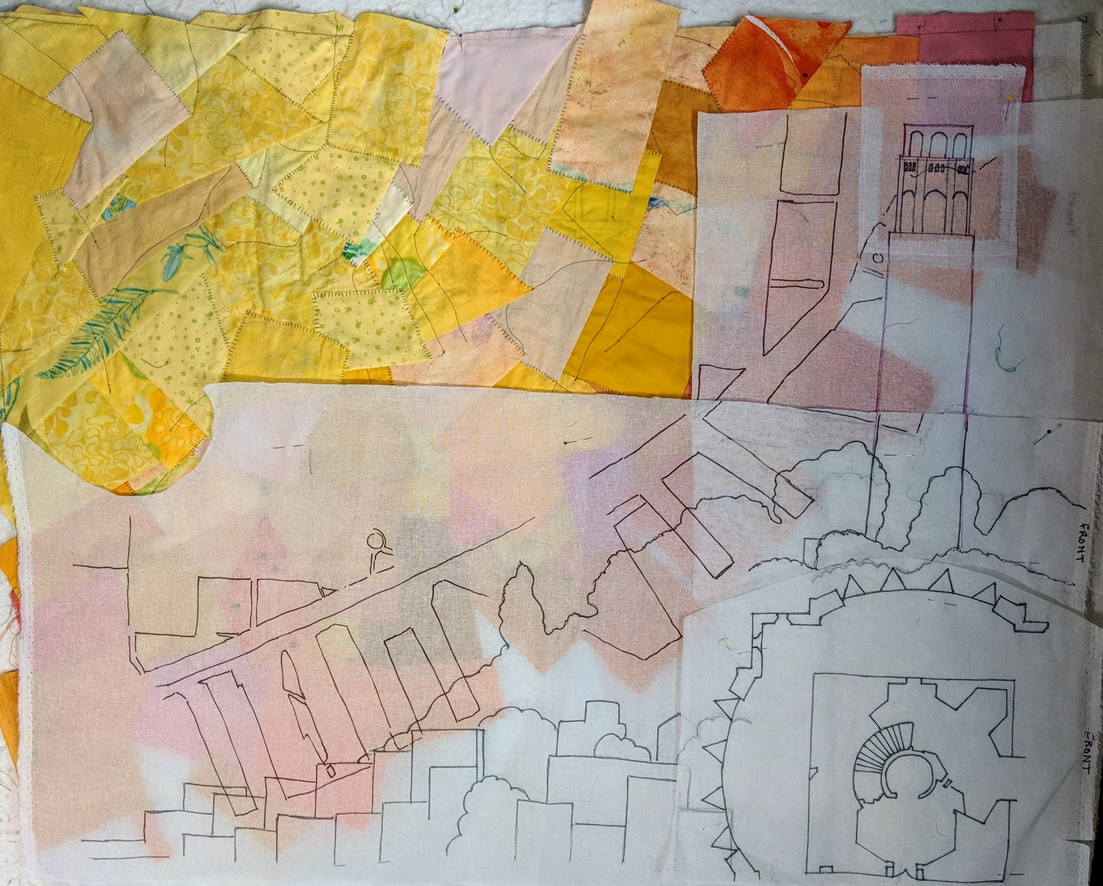 coit tower map quilt in progress