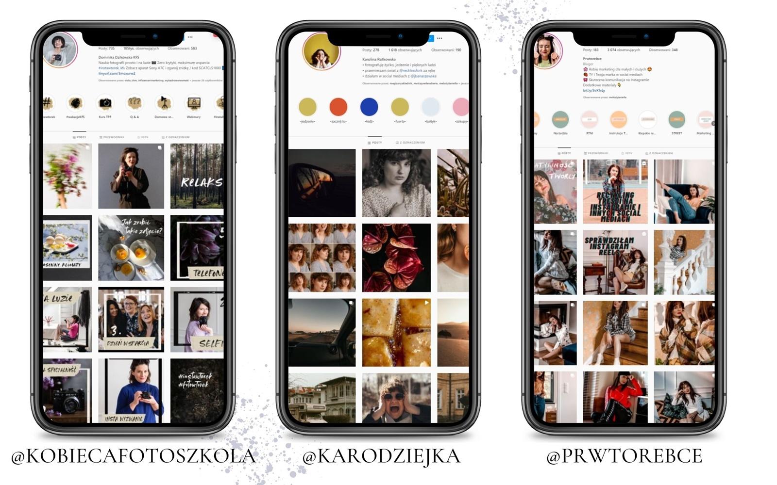 7 przyklady kont biznesowych jak planowac publikacje na instagramie jak obrabiac zdjecia jak zaplanowac spojny feed na profilu na instagramie dla marki bloga blogerki modelki fotografa