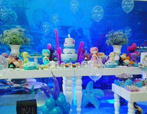 Momento Mágico Decorações Festa Fundo Do Mar Menina Painel 3d