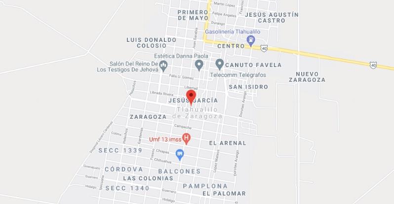 Tlahualilo DGO Mapa con nombres de Calles