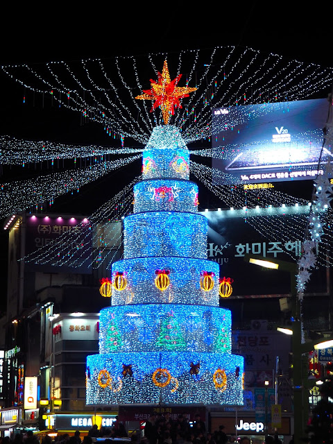 Christmas Tree lights in Nampo, Busan, South Korea