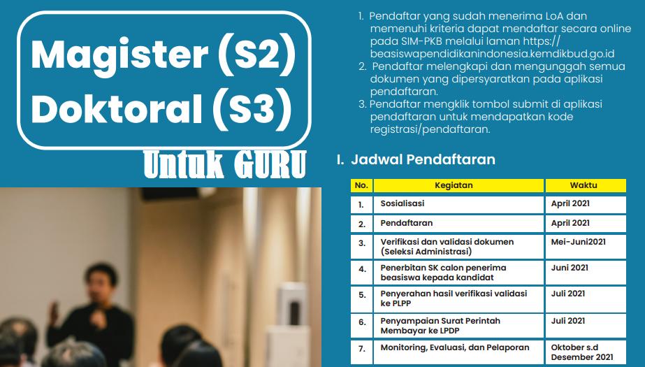 Persyaratan dan Jadwal Pendaftaran Beasiswa S PERSYARATAN BEASISWA S2 DAN S3 UNTUK GURU TAHUN 2021