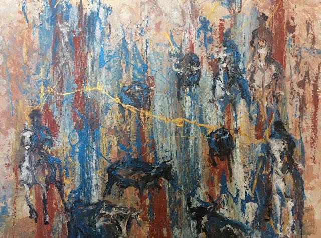 Manade en Camargue peinte par Karine Babel