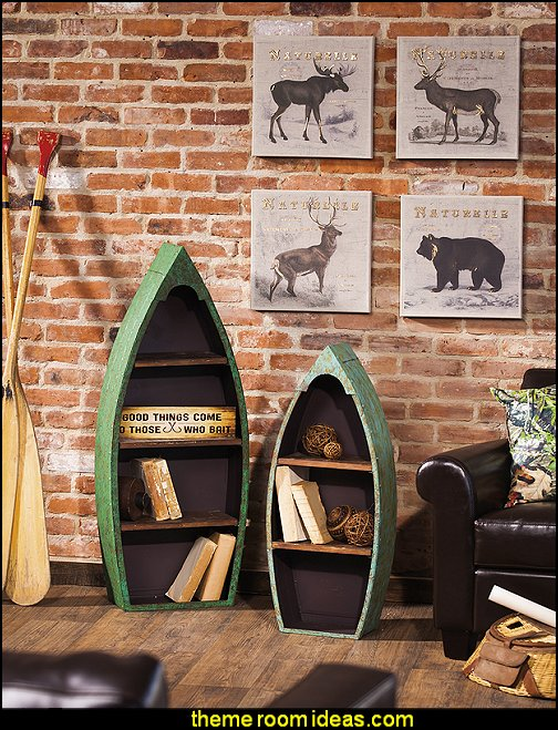 Boat Shelf Set  log cabin - rustic style decorating - Cabin decor - bear decor - camping in the northwoods style  - Antler decor - log cabin boys theme bedroom - Cabin Bedding - Rustic Bedding - rustic furniture - cedar beds - log beds - LOG CABIN DECORATING IDEAS - Swiss chalet ski lodge murals - camping room decor