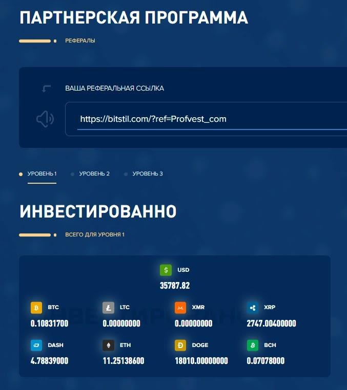 Реферальная статистика BitStil