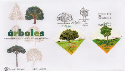 Sobre PDC de los sellos de la serie Árboles, pino silvestre y encina