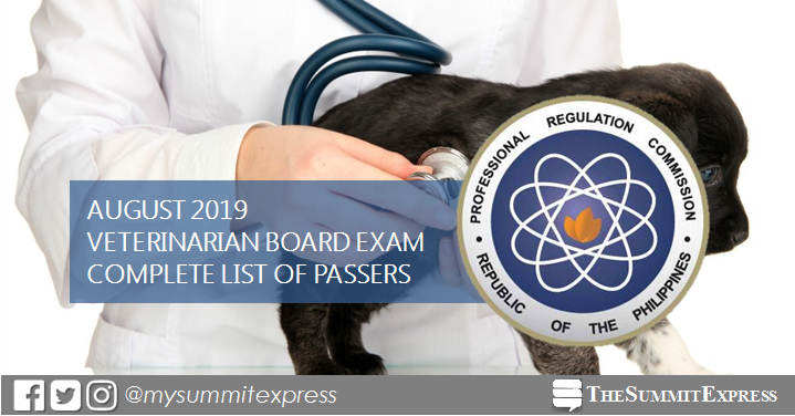 FULL RESULTS: August 2019 Veterinarian board exam list of passers, top 10