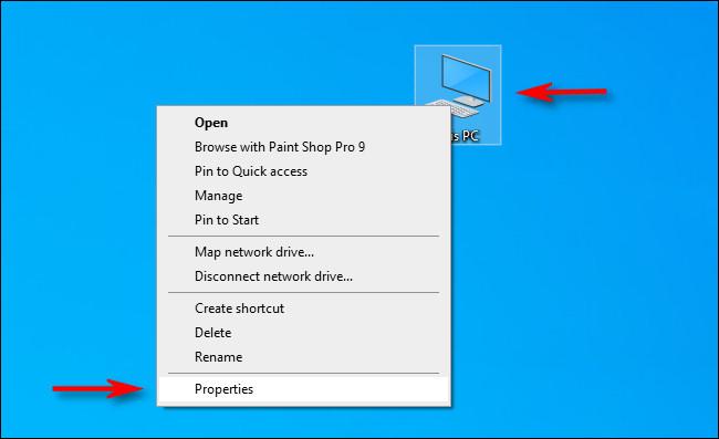 """انقر بزر الماوس الأيمن فوق رمز """"هذا الكمبيوتر الشخصي"""" الموجود على سطح المكتب وحدد """"خصائص""""."""