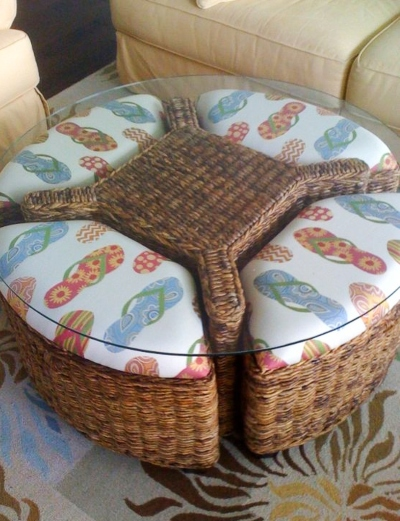 Wicker Coffee Table Set with Stools Upholstered Coastal Fabric