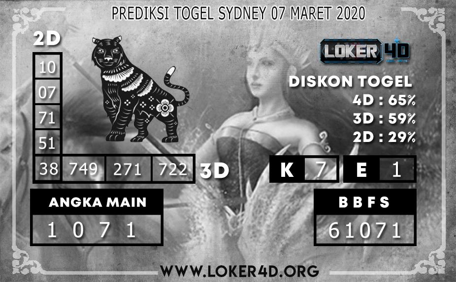 PREDIKSI TOGEL SYDNEY LOKER4D 07 MARET 2020