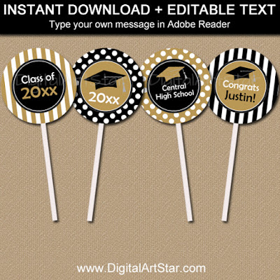 printable black and gold graduation cupcake toppers with stripes and polka dots