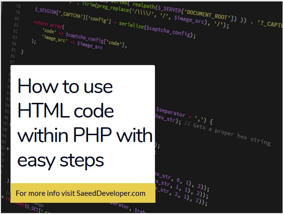 Html code in Php