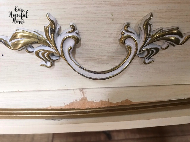 French Provincial leaf drawer pull damaged dressser drawer