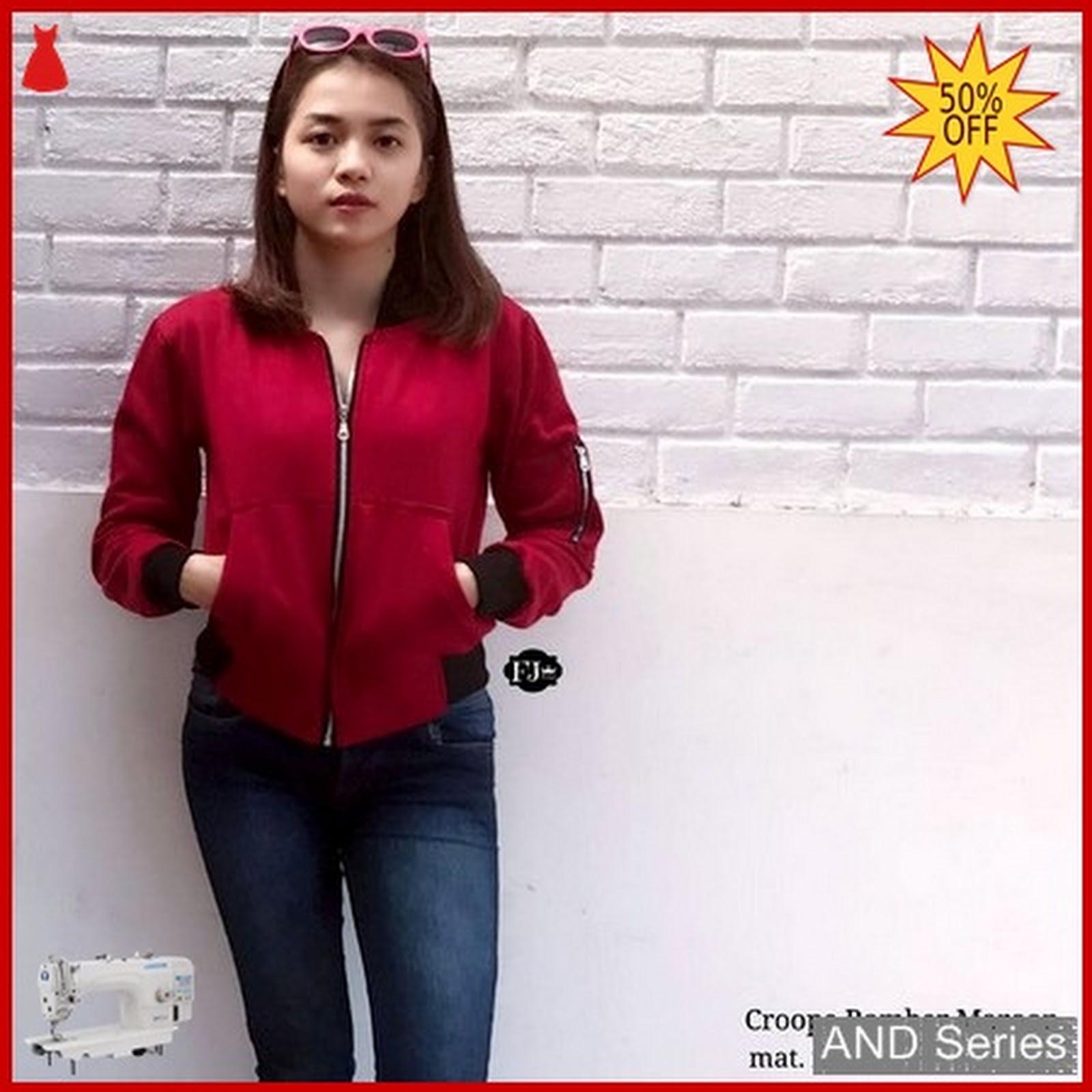 AND232 Jaket Wanita Bomber Crop Merah Maroon BMGShop 1976bc06c3