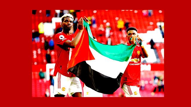 Pogba dan Diallo mengibarkan bendera Palestina pada pertandingan Manchester United vs Fulham