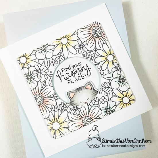 Find Your Happy Place Kitty Card by Samantha VanArnhem | Floral Fringe Stamp Set, Frames Squared Die Set and Newton's 4th of July Stamp Set by Newton's Nook Designs #newtonsnook #handmade