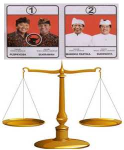 Bali governor candidates, each claiming a winner