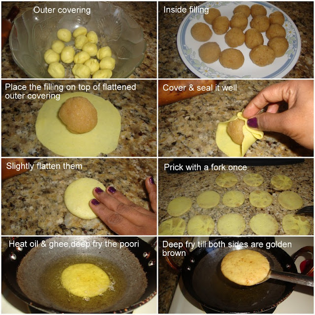 images of Sojji Appam Recipe / Suji Appam Recipe / Sweet Semolina Poori / Fried Dough With Sweet Semolina Filling