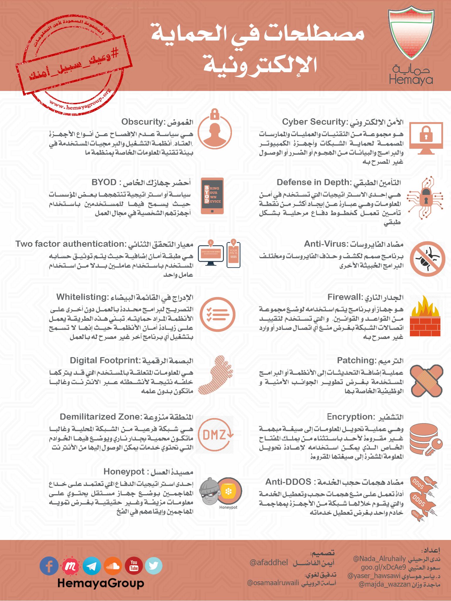 انفوجرافيك مصطلحات في الحماية الإلكترونية