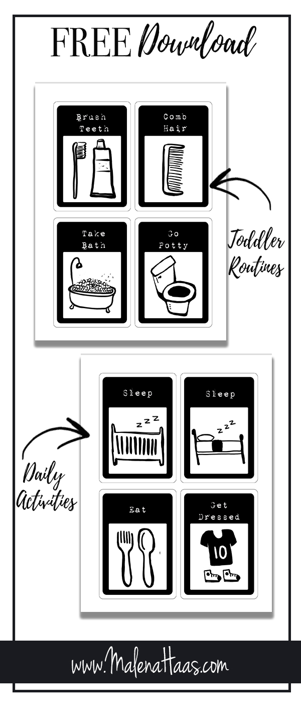 Free Download of Toddler Routine Cards in Black and White www.Malenahaas.com