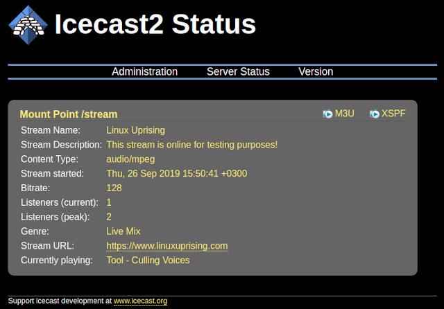 Icecast2 status page