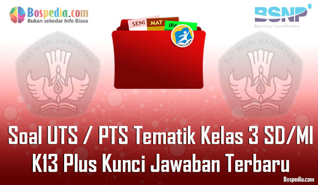 Kumpulan Soal UTS / PTS Tematik Kelas 3 SD/MI K13 Plus Kunci Jawaban Terbaru