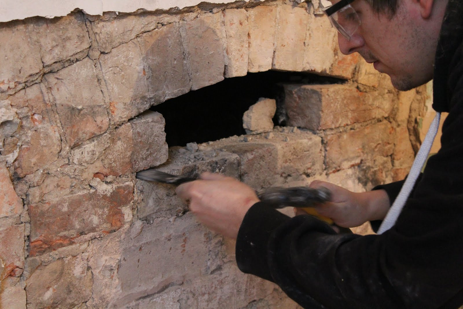 how to open up a chimney with an arch