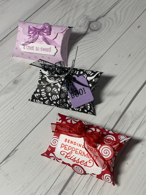 Three pillow boxes for Christmas Halloween and any holiday using Stampin' Up! Pretty Pillowbox Dies | 156321