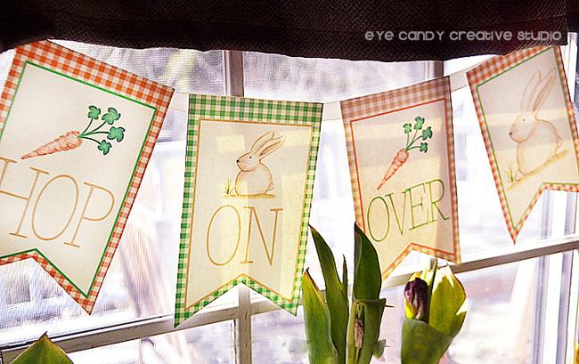 hop on over banner, easter banner, easter bunny, illustration, gingham