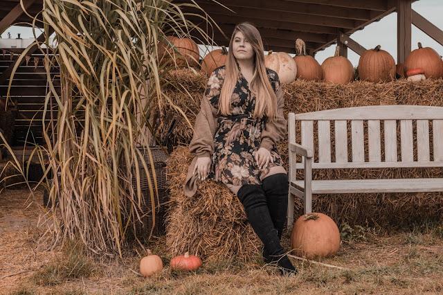 Jesienna sukienka w kwiaty