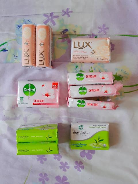 Lux, Dettol & Shokubutsu soap bars